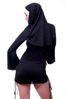 Kostüm Damenkostüm Sexy Nonne Schwester Oberin knappes Kleid schwarz Haube L082 - Vorschau 4