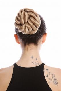 Dutt Haarknoten aufwendig geflochten große Locken Korkenzieherlocken Blond Mix