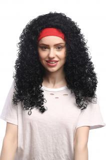 Perücke Damen Fasching Karneval rotes Stirnband Schwarz gelockt Latina Karibik - Vorschau 4