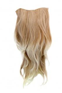 Clip-In Haarteil 7 Klammern 3/4 Perücke Halbperücke Blond Mix glatt 60cm H9505