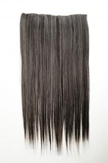 Haarteil Extension breit 5 Clips dicht glatt Braun-Grau-Mix 60 cm L30172-44