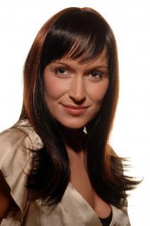 Damen Perücke schwarz rotbraun gesträhnte Haare edler Look 50 cm SA-149-1B-130