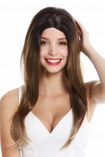 Perücke Damen Frauen lang glatt Mittelscheitel Balayage Braun Blond Gesträhnt