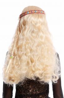 Perücke Blumenkind Hippie 60er 70er lang blond wellig Mittelscheitel Stirnband - Vorschau 4