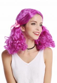 Perücke Damen Karneval lila Girly Lolita 2 lockig buschige Zöpfe Mittelscheitel