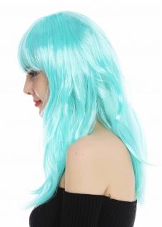 Perücke Karneval Damen lang glatt Pony weiß blau hellblau Perrücke Frau - Vorschau 4