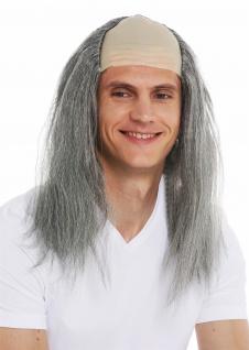 Perücke Karneval Halloween Herren Stirnglatze Halbglatze lang graue Haare Igor - Vorschau 5