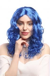 Perücke Damen Karneval Fasching lang Volumen Locken lockig Mittelscheitel blau