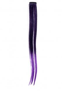 1 Clip-In Extension Strähne Haarverlängerung glatt 45cm Ombre zweifarbig Lila