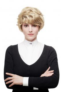 Aufwändig gewellte Damenperücke Perücke blond Strähnen kurz toupiert 1264-24F613