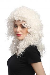 Perücke Damen Karneval Halloween Lang Volumen Locken kraus Weiß Weißblond Engel