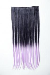 Extension Haarverlängerung 5 Clip-In glatt zweifarbig Ombre Schwarz Lila 60cm