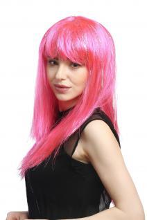 Perücke Karneval Fasching Damen lang glatt Pony rosa pink Glitter Strähnen XR003 - Vorschau 3