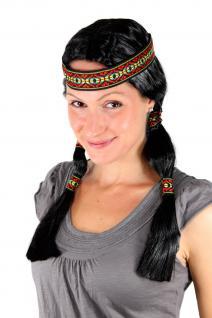 Party Perücke Indianerin, Squaw, schwarz, Zöpfe ca 45cm