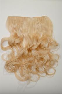 Clip-In Extension Haarverlängerung breit hitzefest 5 Clip lockig Lichtblond