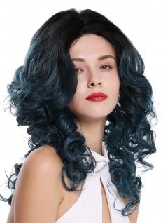 Damen Perücke Lace Front Monofilament lang Locken Volumen toupiert Schwarz Blau