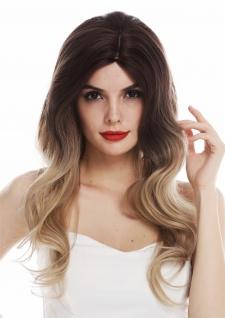 Perücke Damenperücke Kopfhautimitat lang wellig Scheitel Ombre Braun Blond