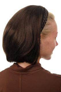 Halbperücke Haarteil geflochtener Haarreif schulterlang glatt braun 90606-6