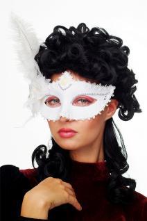 Karneval Venezianische Halb-Maske Damenmaske weiß Federn Society CMN-079 - Vorschau 1
