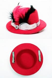 Fascinator Miniatur Hut Mini Zylinder rot Damen Burlesque Feder Tüll Hutband H39 - Vorschau 2