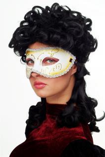 Karneval Venezianische Halb-Maske Damenmaske weiß goldverziert Maskenball 65-01