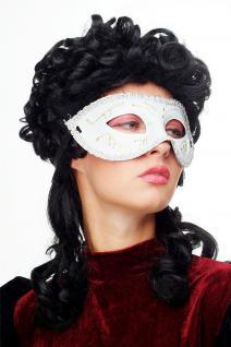 Karneval Venezianisch Maske Halbmaske weiß gold verziert Maskenball Gothic 65-56