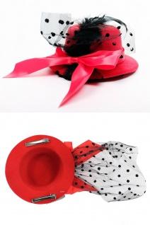 Fascinator Miniatur Hut Mini Zylinder Rot Schlaufe Damen Burlesque Feder H40 - Vorschau 2