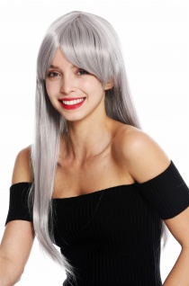 Damenperücke Perücke Damen Cosplay lang glatt Pony gescheitelt Grau YZF-41062
