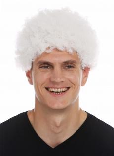 Perücke Frau Mann Karneval kurzer Afro krause Locken lockig weiß Opa Oma alt