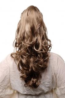 Haarteil Zopf Klammer hellbraun blond gesträhnt wellig voluminös 55cm TYQ2169