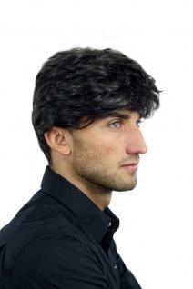 Perücke Herrenperücke Männer wellig sehr dicht dunkelbraun grau meliert CM-195 - Vorschau 5