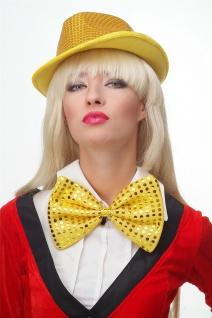 Fliege Groß Clownfliege Bowtie gold gelb Glitzer Pailletten Riesenfliege VQ-029 - Vorschau 4
