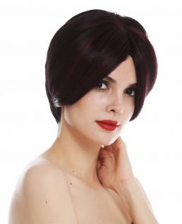 Perücke Damenperücke Frauen kurz langer Scheitel glatt Braun Rot Mix