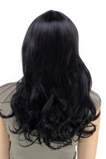 Perücke Haarpracht schwarz lang gewellt voluminöser voller Pony YZF-7080L Wig - Vorschau 4