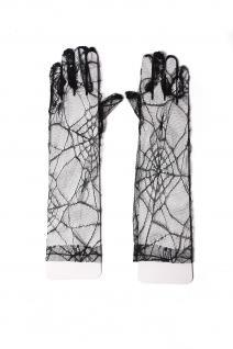 Handschuhe Damen Spitze Schwarz Halloween Spinnennetz Spinne Gothic Vampir Hexe - Vorschau 2