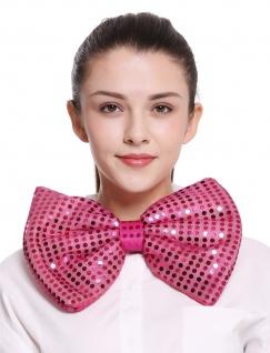 XXL Fliege Bowtie Binder riesig rosa pink Pailletten Clown Zirkus Karneval Show