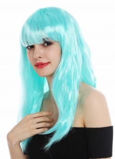 Perücke Karneval Damen lang glatt Pony weiß blau hellblau Perrücke Frau - Vorschau 3