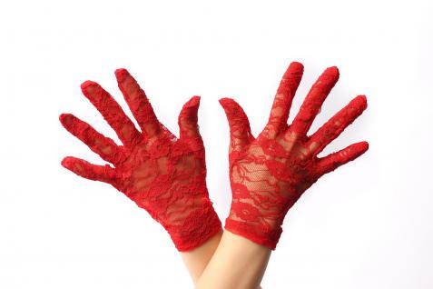 Handschuhe Spitze Spitzenhandschuhe Damen kurz Rot Gothic Viktorianisch Teufelin