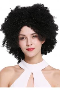 Perücke Damenperücke kraus gelockt Afro Locken Karibik Volumen voluminös schwarz