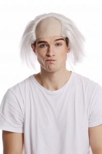 Perücke Glatze Halbglatze Karneval weiße Haare Einstein Igor Professor Alt Opa