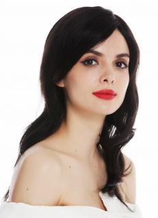 Perücke Damenperücke Monofilament Echthaar lang wellig schwarz Perrücke wig