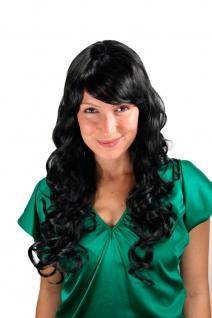 Langhaarige schwarze Perücke Wig lang Locken schwarz gelockt lockig 65cm 7633-1B