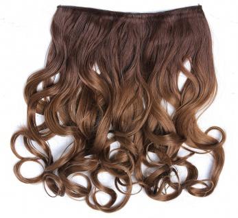 Clip-in Extension Haarverlängerung breit gelockt Locken Ombre Blond Rotblond