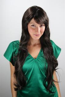 Damen Perücke dunkelbraun langer Pony gewellt Haarersatz sehr lang 80 cm 6311-4