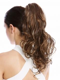 Haarteil Zopf Pferdeschwanz geflochtene Strähnen lockig gesträhnt braun blond