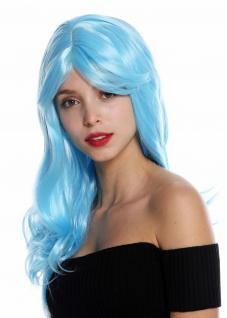 Damenperücke Perücke Damen lang leicht gewellt gescheitelt Hellblau GFW2247