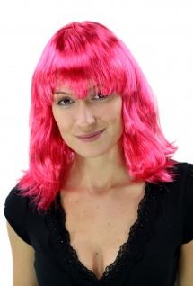 Perücke Damenperücke Karneval Party schulterlang Longbob Pony glatt pink PW0118