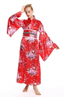 Kostüm Damen Frauen Karneval Geisha Japanerin Chinesin Kimono rot Kirschblüten M