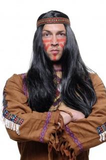 Perücke Indianer Indianerin schwarz 60cm lang glatt mit Stirnband Western LM3049