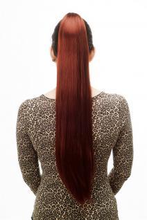 Haarteil/Zopf, sehr lang, glatt, Butterfly-Klammer, ca. 70cm, Rot, Bordeauxrot, T113-35
